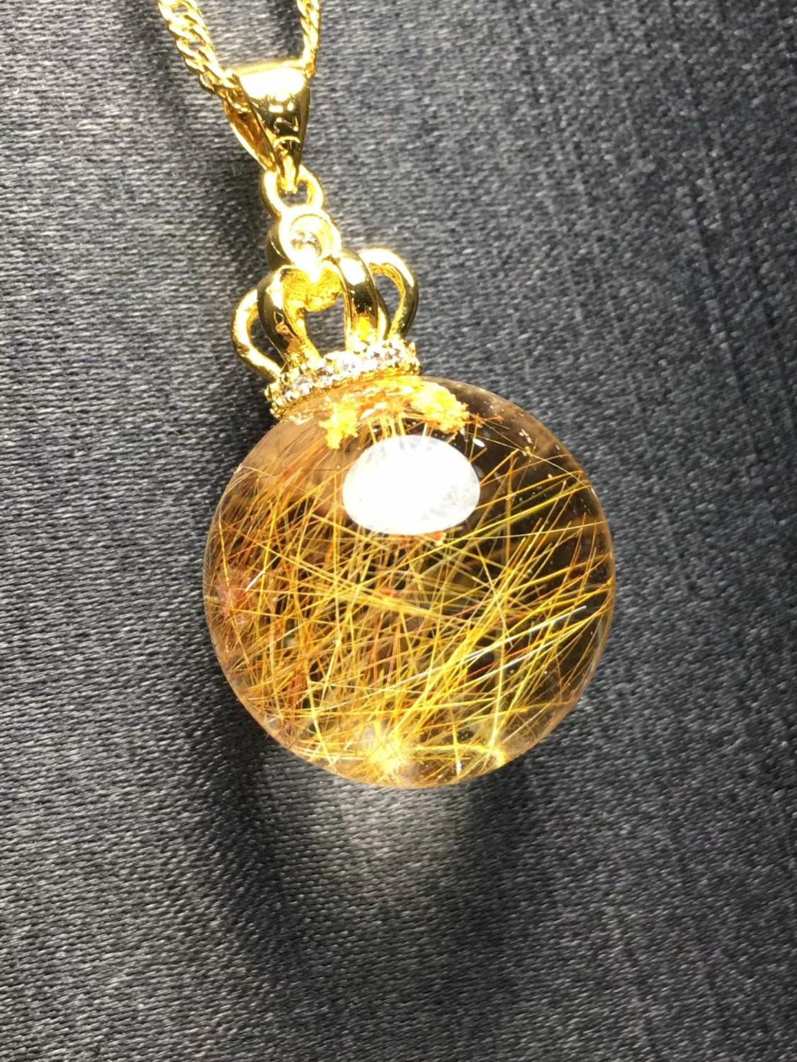 Rutilated Natural Quartz Gemstone Pendant - novariancreations.com