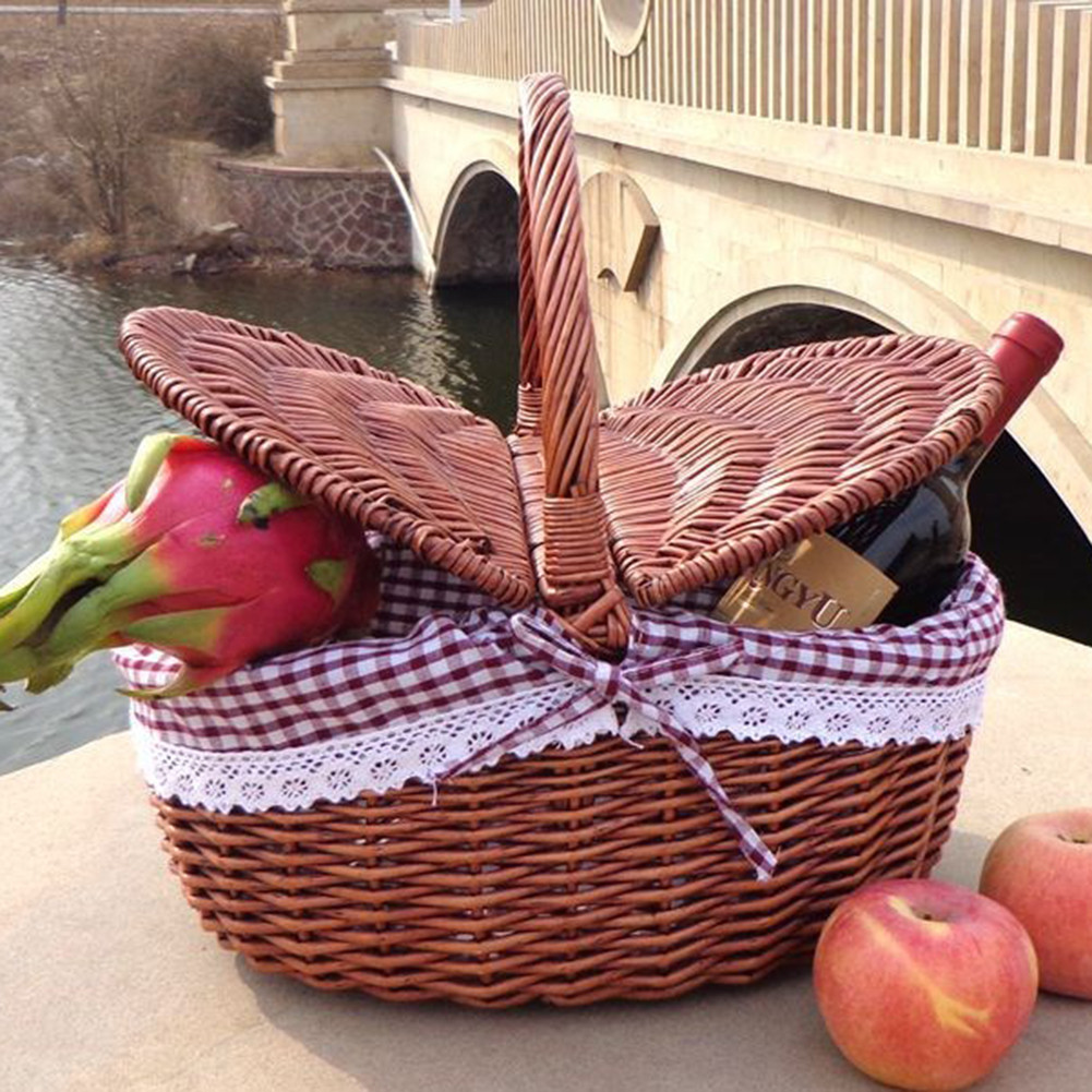 Picnic Basket with Cover Wicker Baskets