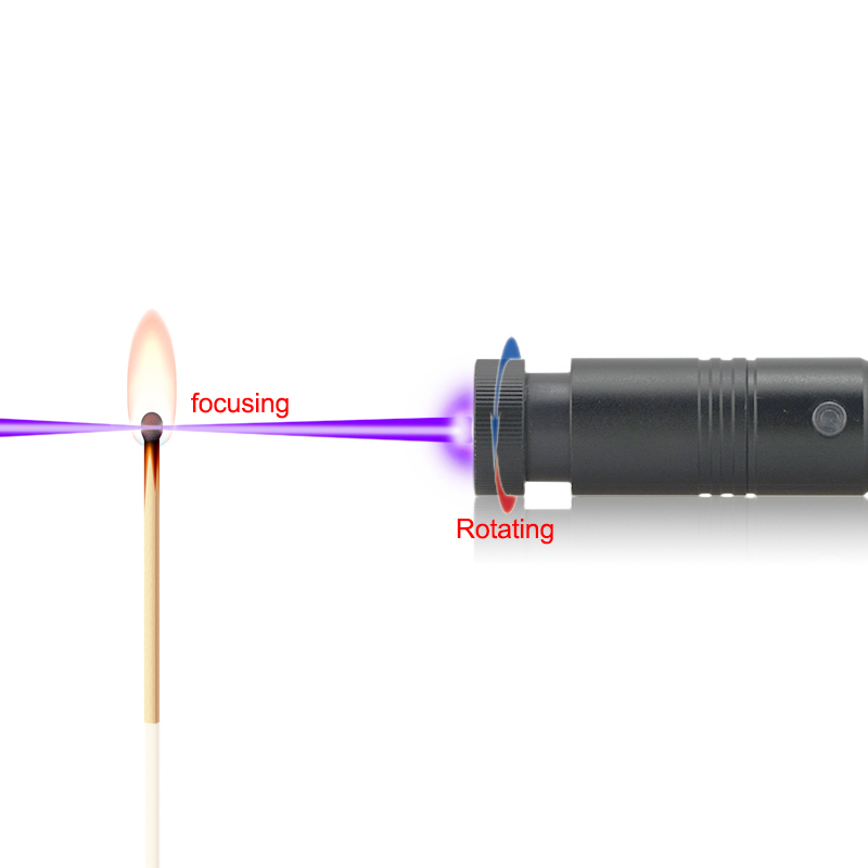 laser pointer with a focusing lens, can start fires and light candles or matches - even pop balloons