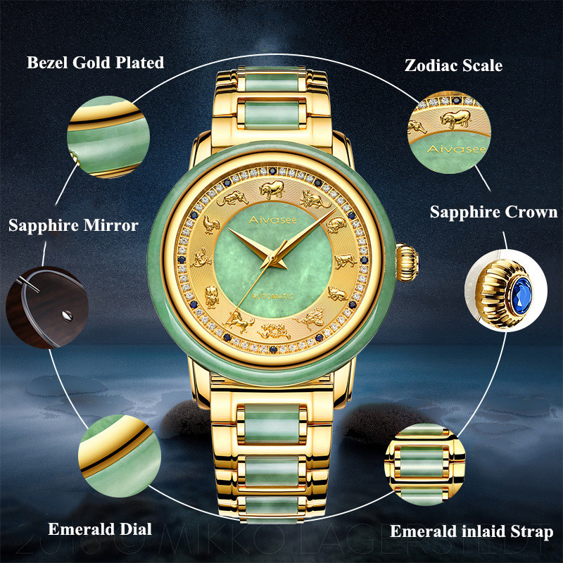 Zodiac Diamond Sapphire Jade Watch - novariancreations.com