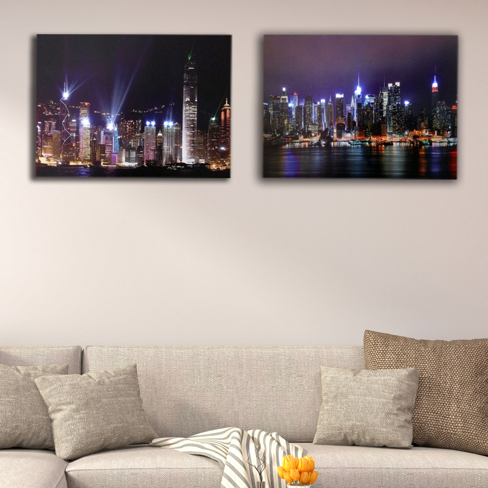 New York Skyline Framed LED Canvas Painting - Canvas Paintings Under $500