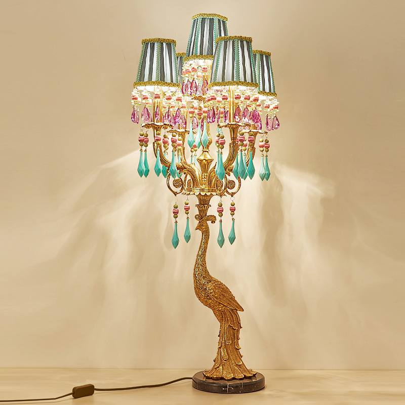 French Peacock Villa Crystal Gold Table Lamp - Lamps & Lighting