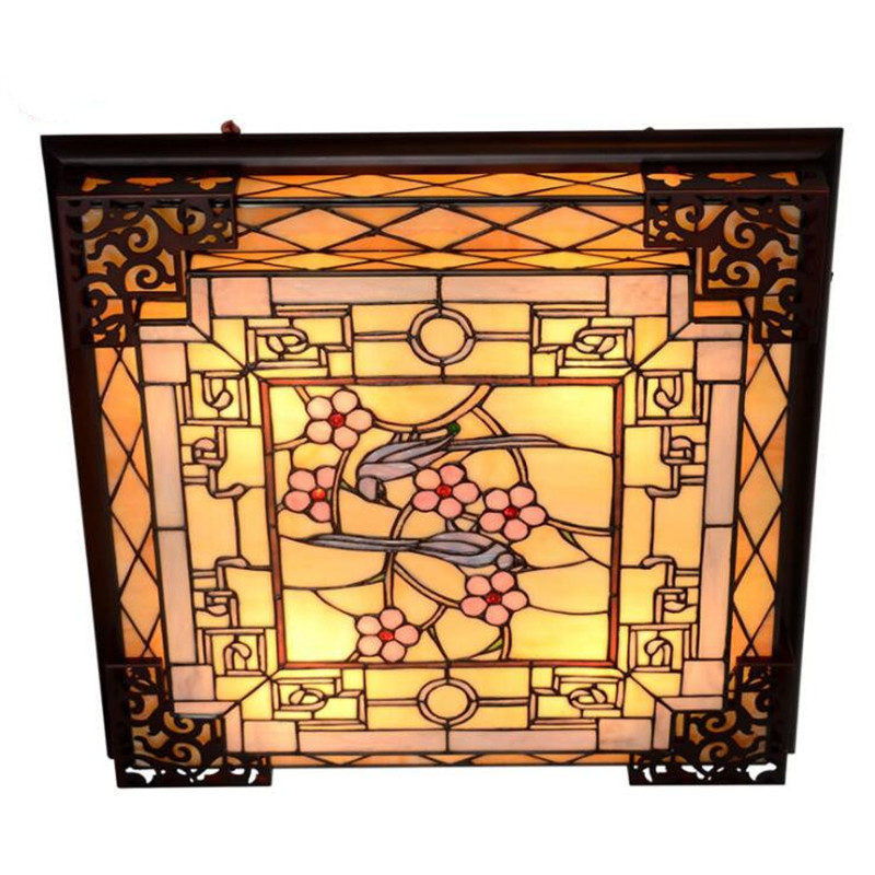Vintage Baroque Stained Glass Ceiling Lamp - Lamps & Lighting