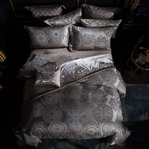 Egyptian Satin Embroidery Duvet Bedding Set - Novarian Creations