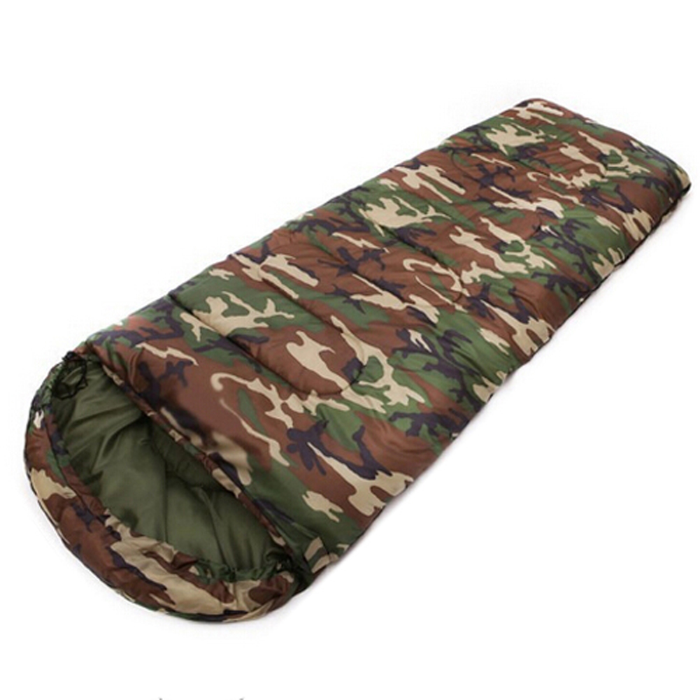 JHO-Cotton Camping sleeping bag 15~5degree envelope style camouflage Multifuntional Outdoor SleepingBag Travel Keep Warm LazyBag