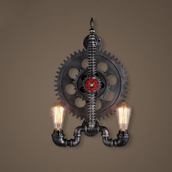Industrial Iron Gear Pipe Wall lamp - Lamps & Lighting