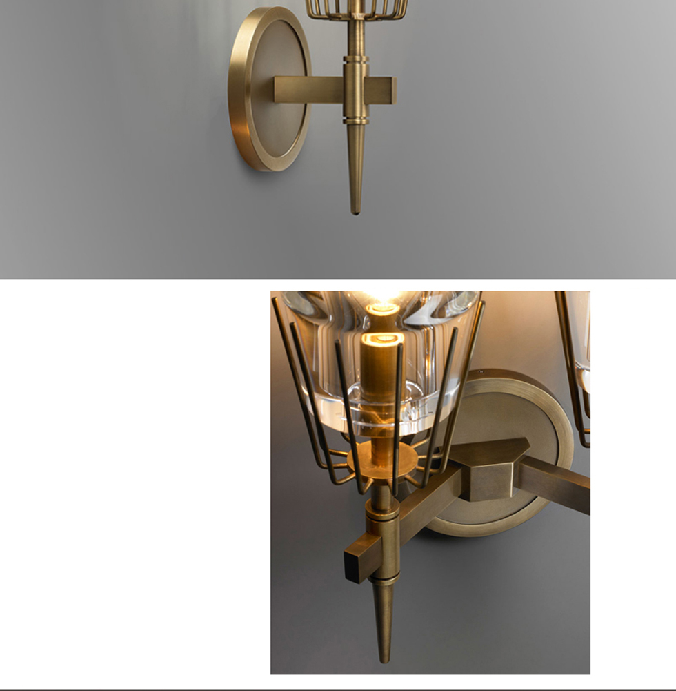 Retro Copper Glass Stone Wall Lamp - Lamps & Lighting