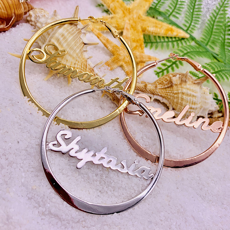 Affordable Customized Made-to-Order Statement Hoop Earrings, Personalized Nameplate Hoop Earrings White Gold, Yellow Gold, Rose Gold. From CustomizedBling! Creators of Affordable, Personalized Made-to-order Jewelry Gifts and Treasures