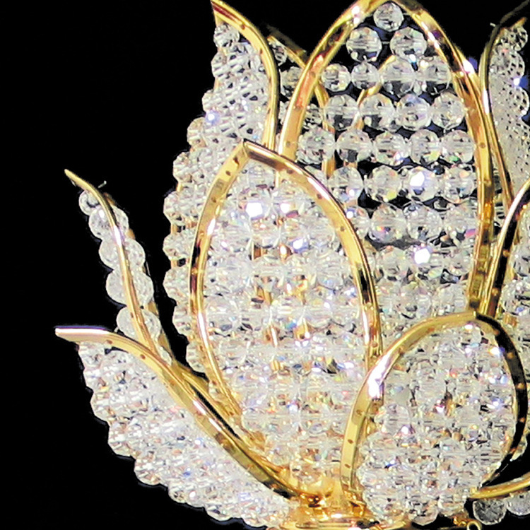 Crystal Golden Lotus Wall Lamp - Lamps & Lighting