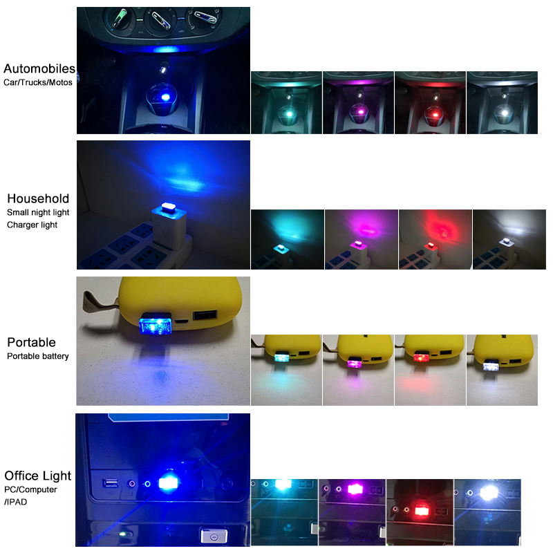 stealthy and discrete mini vehicle mood-lights; unobtrusive LED lighting powered by any USB port (can also be used in charge ports, USB power adapters, mobile devices, laptops, personal desktop computers and portable power banks. three bright and dazzling colours of cool LED to check out!