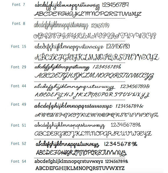 Font Reference chart, customization options