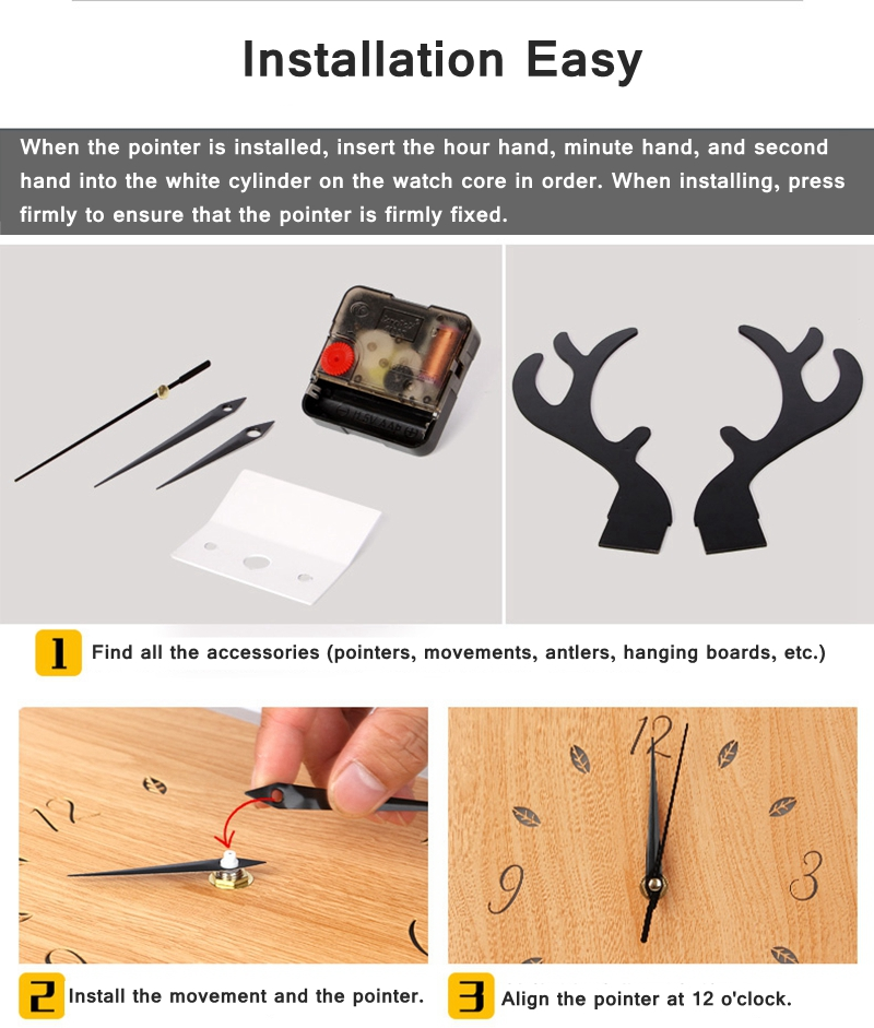 Creative Antlers Clock Wall Lamp - Wall Lamps