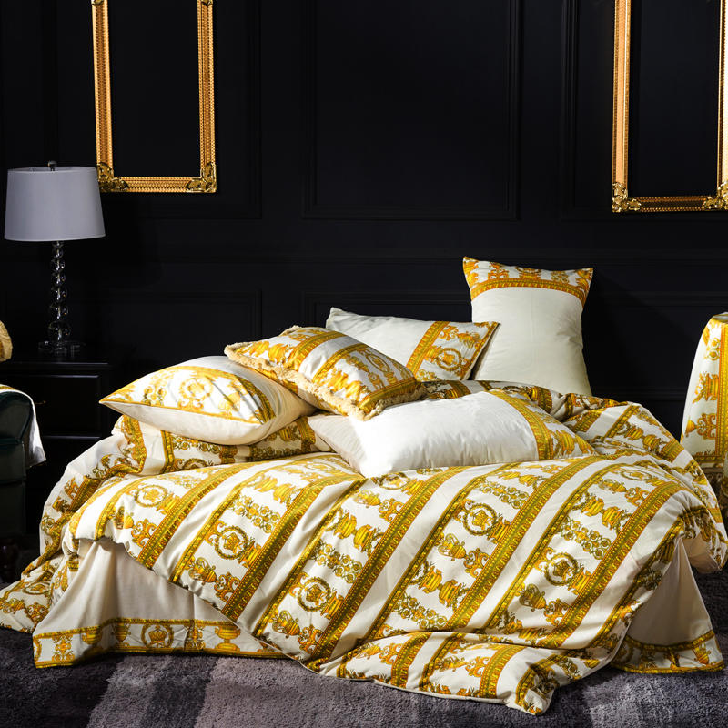 Golden Stripe Embroidery Duvet 4PC Bedding Set - Novarian Creations