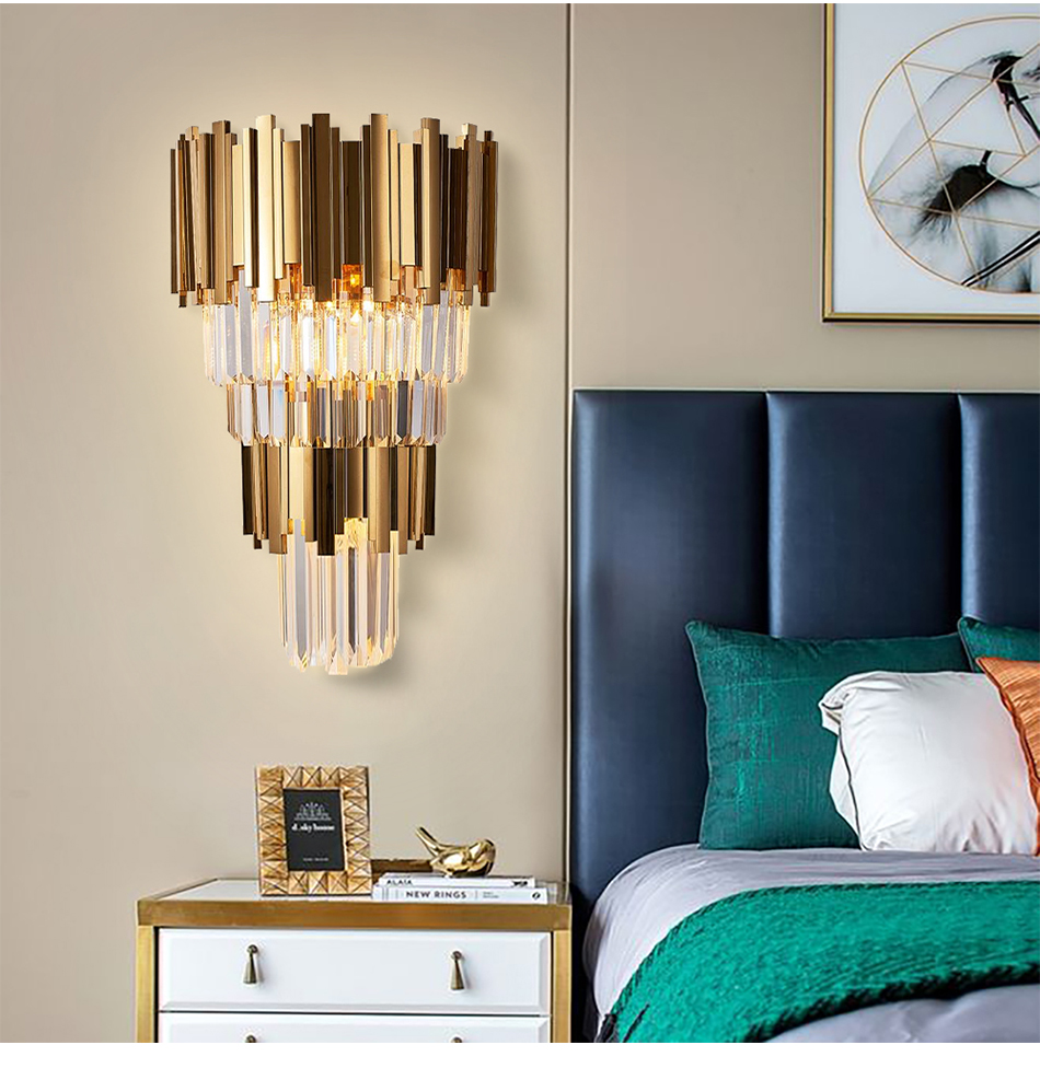 Golden Crystal Modern Wall Lamp - Lamps & Lighting
