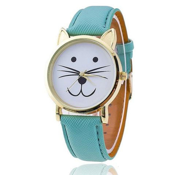cute and charming leather cat watches, ladies watches for cat-lovers in six pretty kitty colors! These cuddly kitty cat watches are always on sale! Ships to Canada, Ships to the United States. cat fashion is always in style, and these cute dyed leather cat watches are no exception! Know a cat-lover on your holiday gift list? Are You a cat-lover? Gift it to yourself! check-out with a dyed leather cat watch right meow, or later you'll whisker you had!