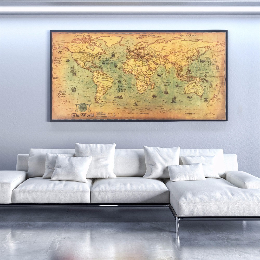 vintage world map poster, drawn in eco-friendly ink